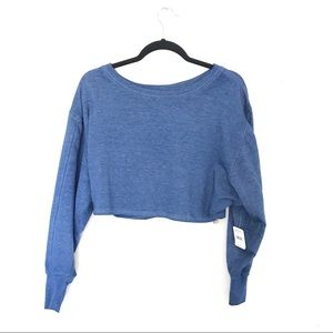 New Free People Movement Cropped Blue Sweater